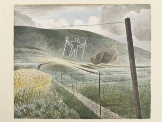 Watercolour drawing of the Wilmington Giant chalk man cut into the side of a hill on the South Downs in Sussex.
