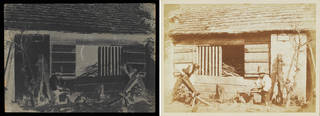 Composite image of Talbot's Woodcutters image with negative image on the left and positive print on the right. Negative is dark and a reverse image of the paler brown image on the right.