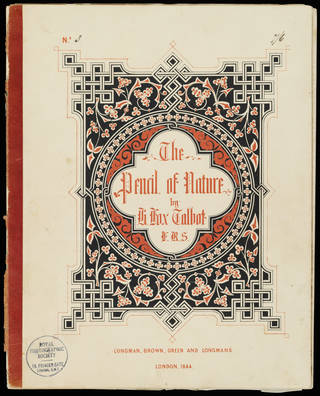 Cover of a book called the Pencil of Nature with blac, white and red floral and geomentric designs surrounding the title.