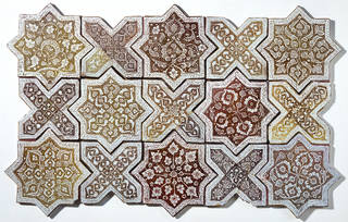 Tesselating cross and star pattern, made from intricately patterned tiles in brown, and golden tones.