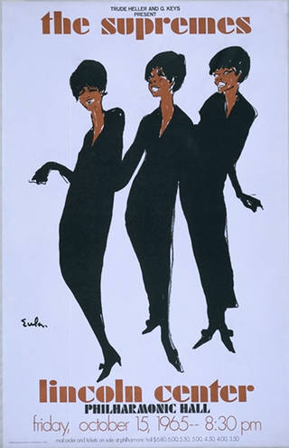 Poster advertising The Supremes at the Lincoln Center, New York