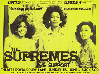 Poster advertising The Supremes at Theatre Royal, Drury Lane, London