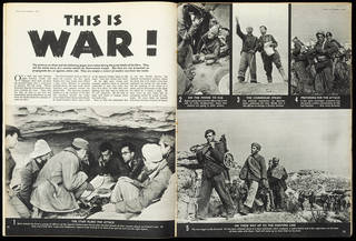 Interior spread from Picture Post with article titled 'This is War!'