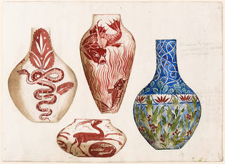 Drawing showing designs for ceramic vases