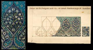 Tile panel and original design for the Sutlej ocean liner