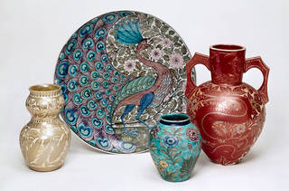 Selection of ceramic dishes and vases by William De Morgan