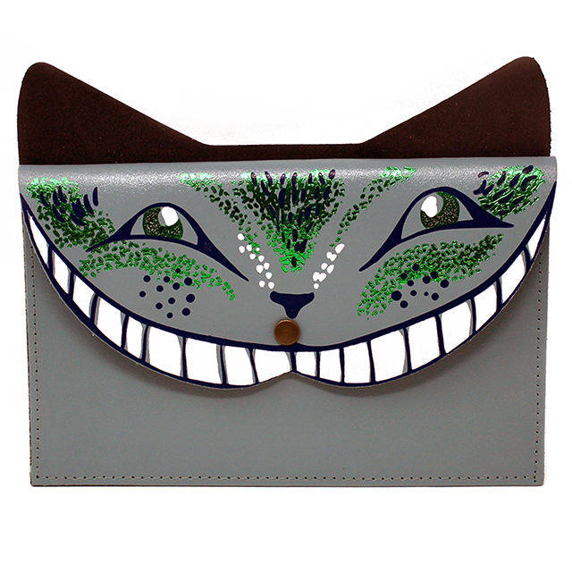 Cheshire Cat leather clutch