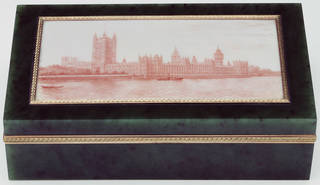 Cigar case with image of the houses of parliament on the lid