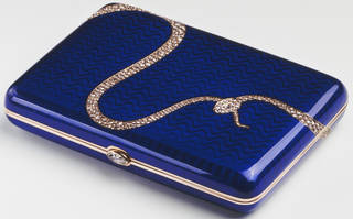 Blue enamel cigarette case with diamonds set in the shape of a snake