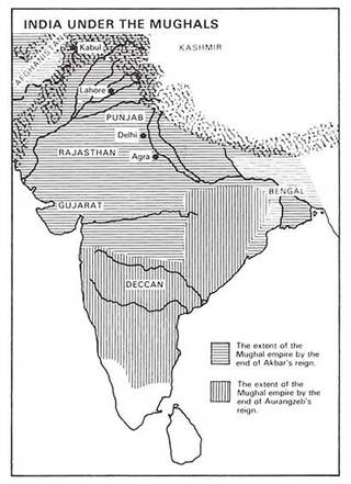 Black and white map of India showing the Mughal empire territories