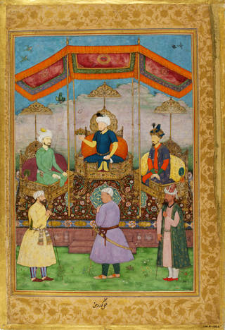 Bright painting of six Mughal figures underneath a red canopy