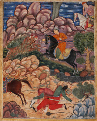 Brightly coloured painting with man on horseback spearing a tiger and figure cut in half wearing red trousers.