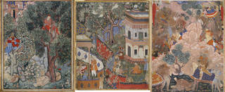 Three brightly coloured paintings depicting Mughal scenes