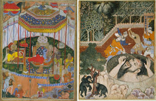 Brightly coloured painting depicting Mughal scenes with weapons, people, tents and materials