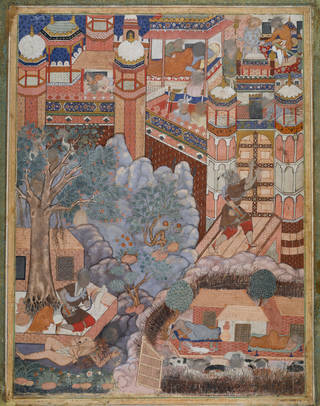 Brightly coloured Mughal painting depicting red brick buildings and trees