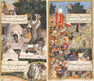 Two mughal paintings featuring calligraphy text, figures, trees and buildings