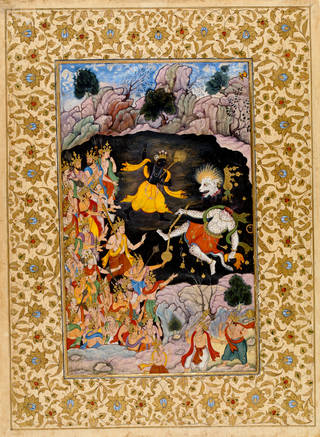 Vibrant painting in gold, yellow and black featuring Hindu god Krishna beheading Nikumba