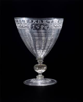 Goblet with trailed decoration and engraved with diamond-point with initials