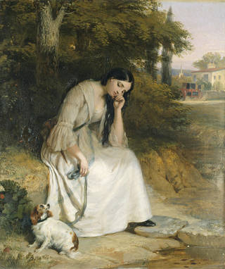 Oil on canvas entitled 'Maria', depicting a woman in a white dress, seated forlornly at the side of a tree with a small dog looking up at her in concern.