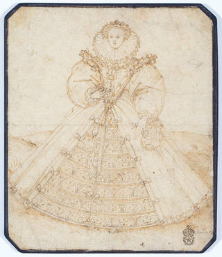 Sepia/tan coloured pen and ink drawing of Queen Elizabeth I on cream background