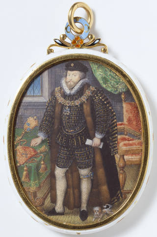 Oval portrait miniature painting of a man standing in a room wearing Elizabethan clothing in black and gold with white stockings.