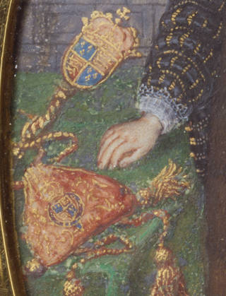 Detailed crop from a portrait miniature of a red bag with a crest on the front and gold tassels.