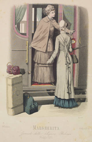 Print of two women standing at the open carriage door of a train surrounded by luggage