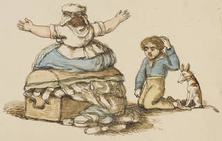 Cartoon-style drawing of a woman sat on a trunk trying to close it while clothes spill out while a boy kneels alongside scratching his head.