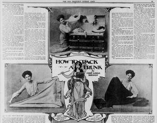 Newspaper article from The San Francisco Sunday Call called 'How to Pack a Trunk' with images of a woman folding and packing clothes.