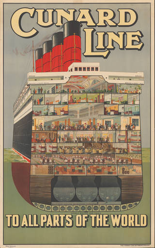Poster of a cross-section of an ocean liner on the Cunard Line showing all the decks of the boat and what happens on each.