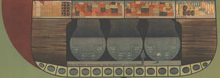 Detail from a poster showing the cross-section of an ocean liner with the baggage hold at the bottom of the boat above the engine room.