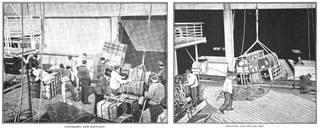 Black and white magazine cuttings showing men on the dock-side sorting and loading luggage onto a ship