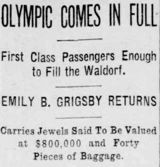 Newspaper headline cutting about the return of the ocean liner the Olympic