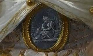 Detail of Marie Adélaïde de Bourbon's blue brooch on her waist, depicting 'Poor Maria'