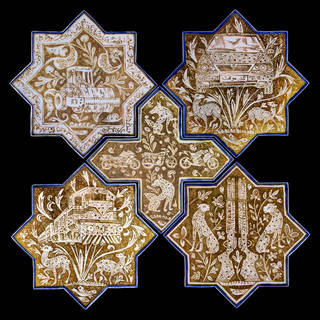 Panel of five tiles, from the series 'Kashi and Kashan', by Abbas Akbari