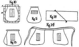 Hand drawn line drawings of shapes for women's tie-on pockets in black ink on a white background.