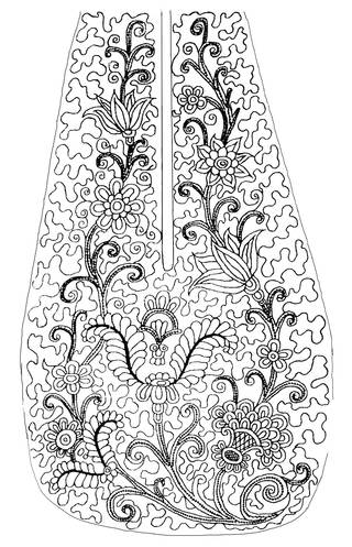 Black ink drawing of floral motif on a pear-shaped pocket.