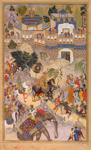 Brightly coloured painting on tan background featuring people on elephant and horseback in a procession.