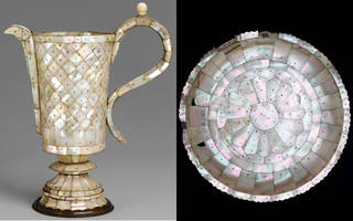 Left: mother of pearl covered ewer (jug). Right: round mother of pearl covered salver (plate)
