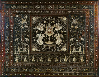 very detailed wooden panel with mother of pear inlay of people, animals and Mughal motifs