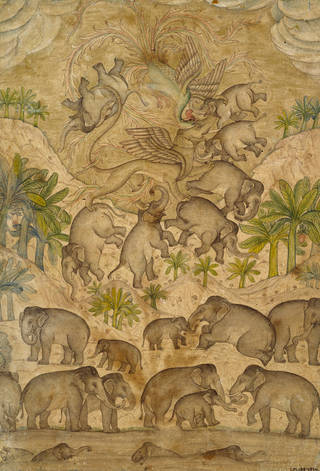 Drawing in browns and greens of elephants and palm trees