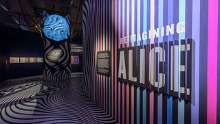 The 'Reimagining Alice' gallery with Cheshire Cat projection