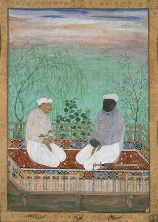 Painting of two men facing each other kneeling on a carpetted platform outside. There are trees and green in the background.