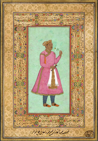Man in pink clothing and a white and gold sash holding a branch of a plant. Richly decorated gold border