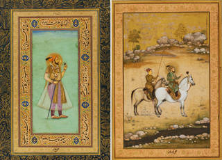 Two brightly coloured watercolour paintings showing Shah Jahan holding an emerald and carrying a sword on the left and out riding with his sun in a sandy landscape on the right