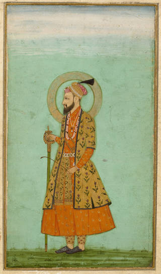 Brightly coloured watercolour of a man standing with a sword wearing orange and yellow robes and a 'halo' around his head. Green background.