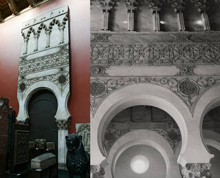 Left: Plaster cast of an arch from the interior of Santa Maria Blanca synagogue. The plaster cast also has ceramic tiles applied at the base of the column. Right: black and white photo showing the detailed patterns on the arch