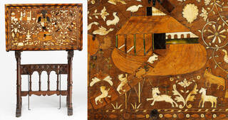 Brown wooden cabinet displaying animals entering into Noah's Arc