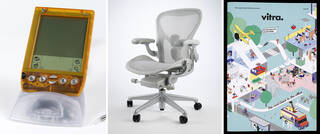 Visor Deluxe,  Aeron Live OS prototype office chair, and 'The Road Back to the Office' printed publication
