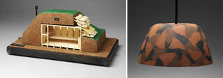 Model of a plywood nuclear fallout shelter, lampshade